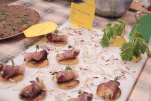 "most beautiful plate - 3rd place: ""Searching for Paradise"" - speck rolls on a caramelized apple bed"